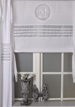 gardine raffgardine raffrollo weiss wei monogramm. Black Bedroom Furniture Sets. Home Design Ideas