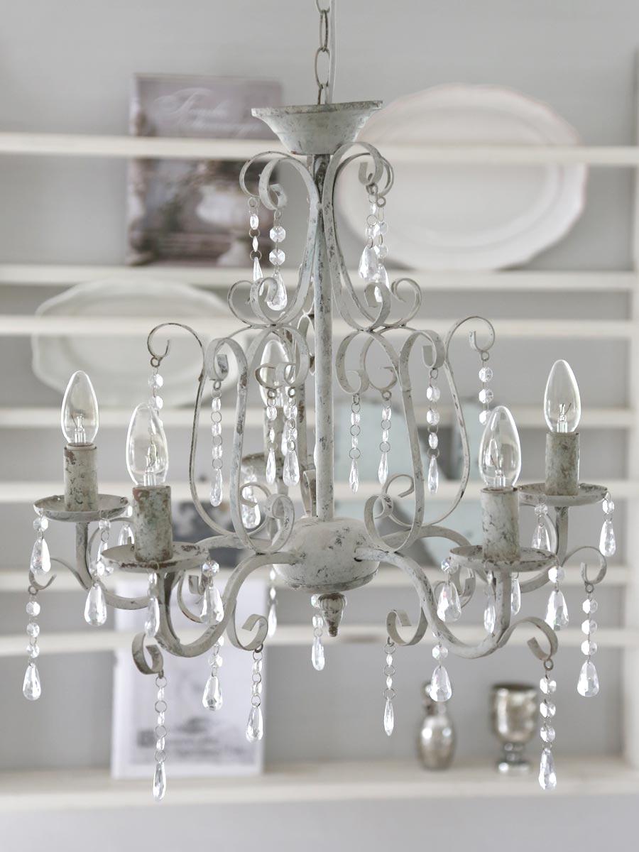l ster kronleuchter shabby chic antike vintage h ngelampe weiss pendellampe mit kristallen. Black Bedroom Furniture Sets. Home Design Ideas