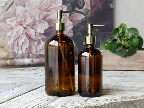 Flasche mit 2 Pumpen Spülmittel Soap Dispenser Seifenspender mokka Braunglas