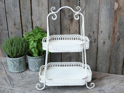 Etagere Shabby Chic Antique Metall weiss