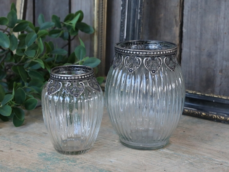 Chic Antique Vase Glas mit Silberdekor