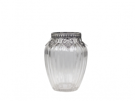 Vase Glas Silber Dekor Chic Antique