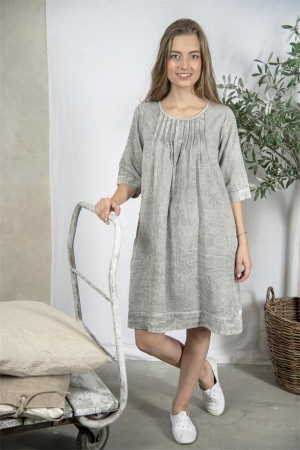 Jeanne d`Arc Living Kleid Bettina grau stonewashed M - XXL