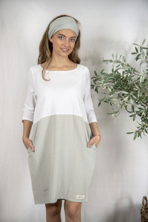 Jeanne d`Arc Living Kleid Sissel white grey S - XXL