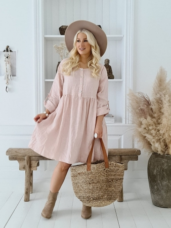 BOHEMIANA by Bypias Leinen Kleid Annabella light pink