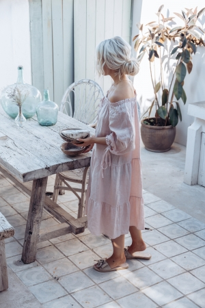 BOHEMIANA by Bypias Leinen Kleid Cassidy light pink