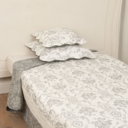 Clayre & Eef Tagesdecke Floral gemustert taupe creme weiß 230 x 260 cm