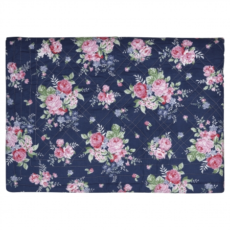 GreenGate Decke Plaid Tagesdecke Roses dark blue 140 x 220 cm