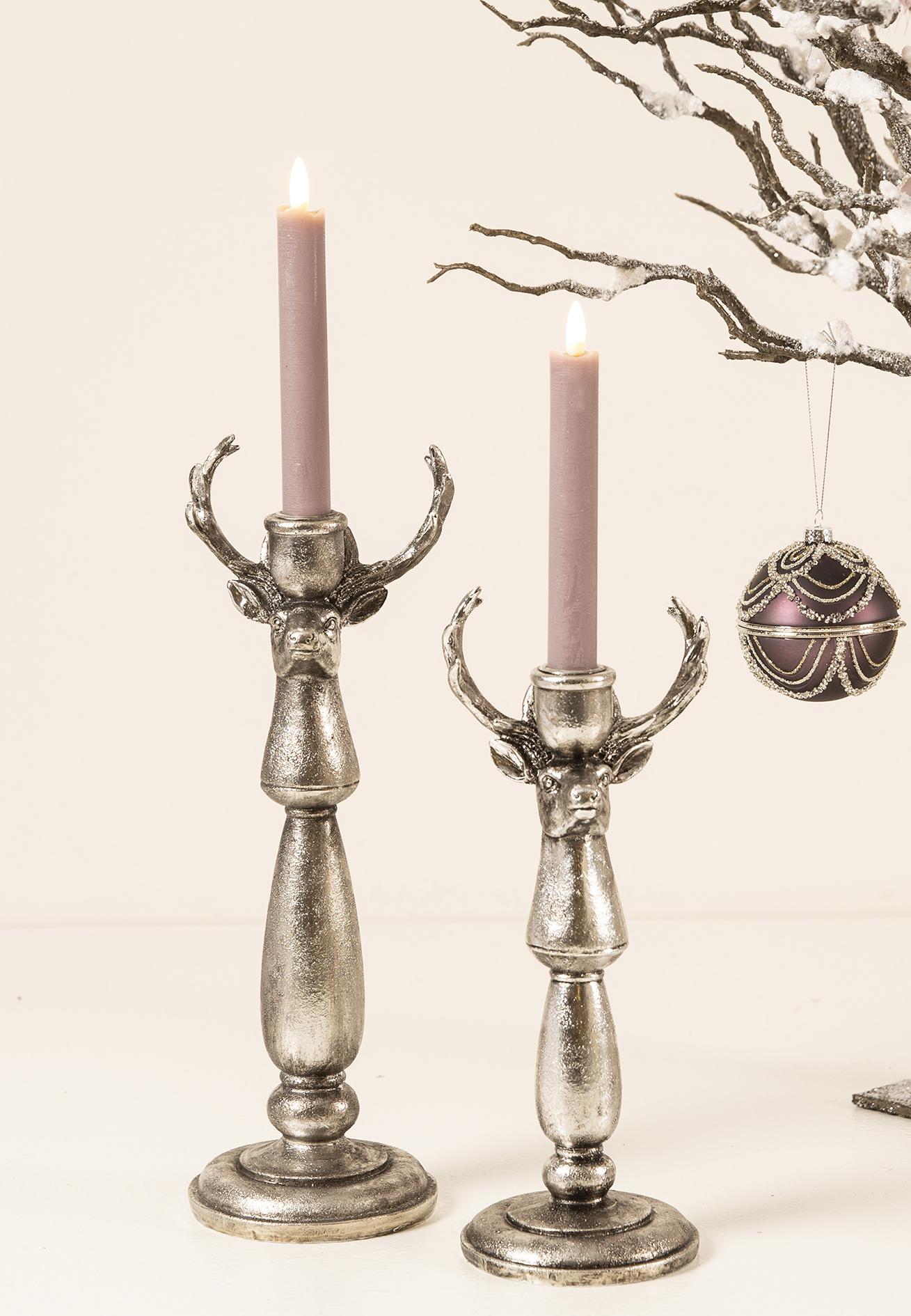 Rentier Kerzenhalter Versilbert incl Silbernes Rentier als Kerzenständer Kerze