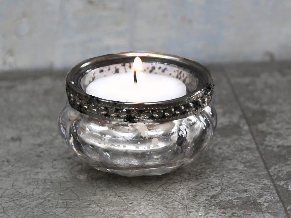 Teelicht perlenkante teelichthalter bauernsilber silber glas