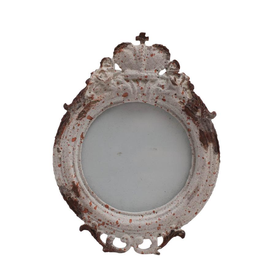 bilderrahmen fotorahmen krone shabby beige weiss landhaus metall bl ten zweig chic antique. Black Bedroom Furniture Sets. Home Design Ideas