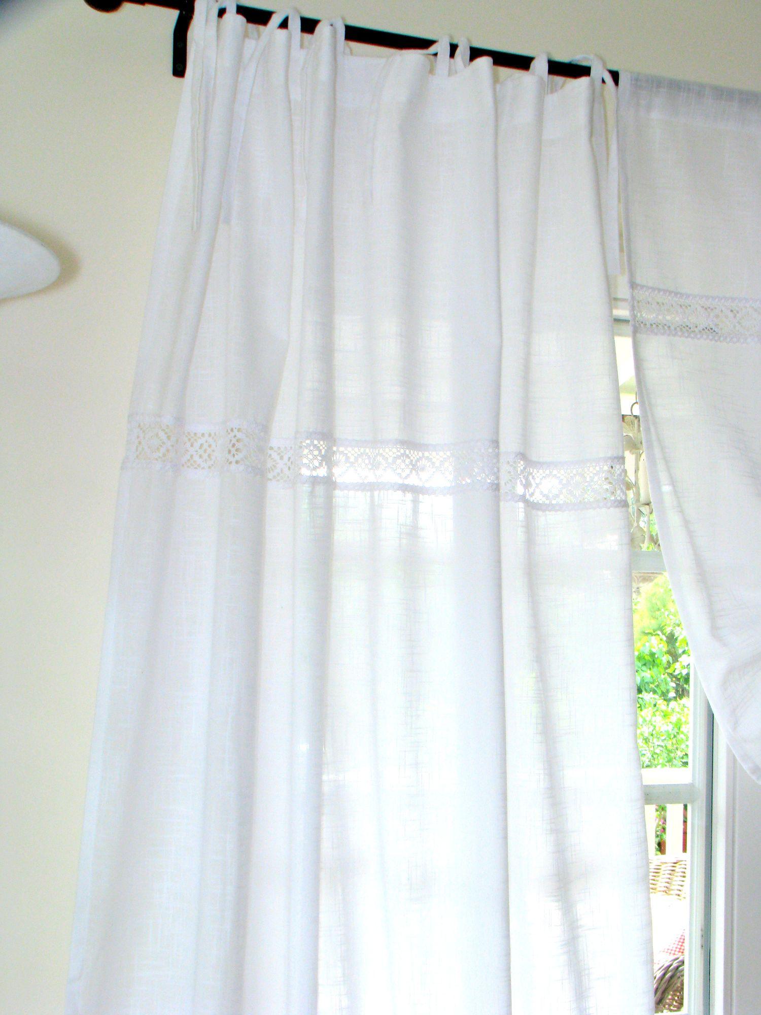 Vorhang Seitenschal mit Borte Sanna 2er-Pack weiß
