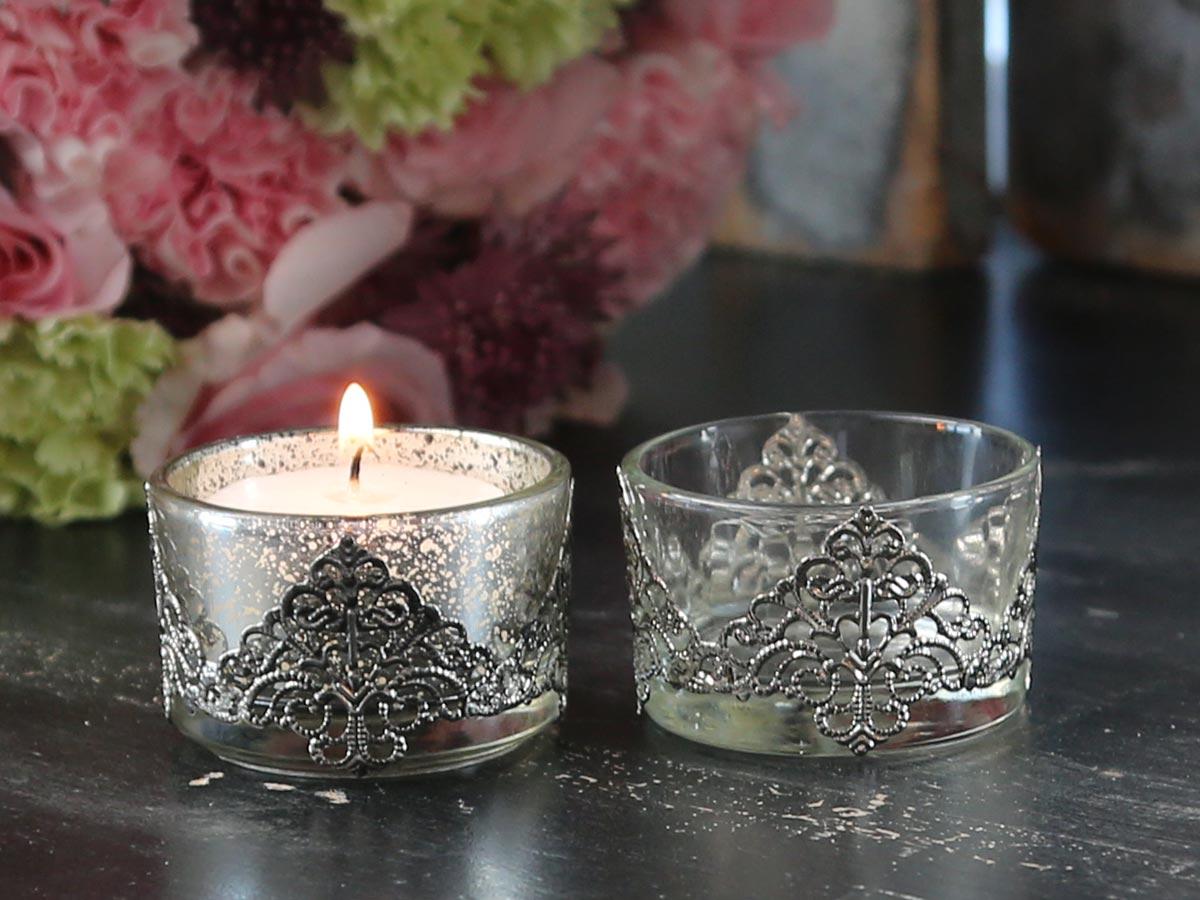 Teelicht teelichthalter bauernsilber silber glas chic antique