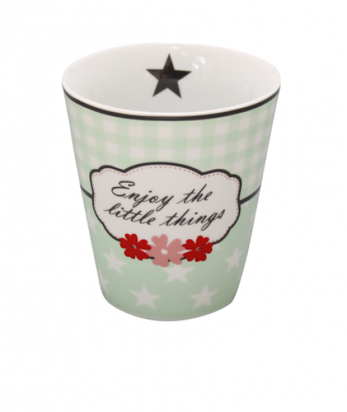 Becher Tasse Enjoy mint Blume Krasilnikoff