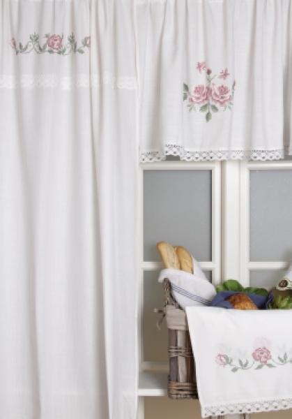 vorhang seitenschal schlaufenschal weiss shabby rosen borte vorhangschal kreuzstich. Black Bedroom Furniture Sets. Home Design Ideas